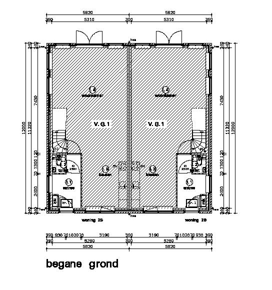 plattegrond woonhuis en garage